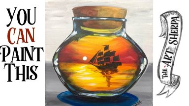 Pirate ship Sunset in a Bottle ⛵️ 🌅 Easy Acrylic painting Live Stream
