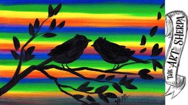 New Technique 6 Color brushstroke Love Birds Silhouette painting EASY