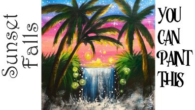 Easy Sunset Waterfall Acrylic painting step by step LIVE 🔴