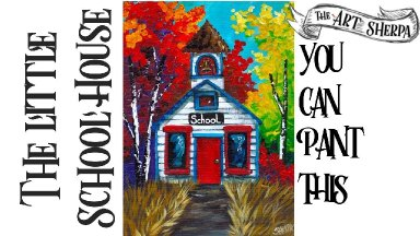 Fall tree School House Easy Acrylic painting techniques step by step