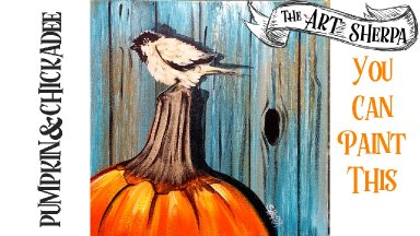 Easy Acrylic painting Chickadee and Pumpkin step by step