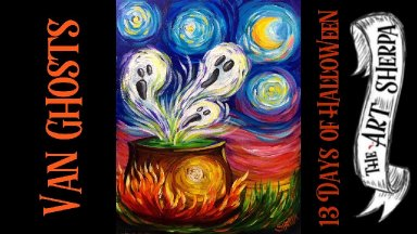 Van Ghosts Easy Acrylic painting step by step 13 days of Halloween