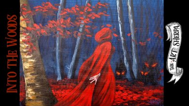 Easy  Red Riding Hood Acrylic painting Beginner step by step #13 days of Halloween