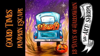 Vintage Truck and Jack O Lantern  Easy Acrylic painting step by step  #13 Days of Halloween