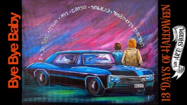 """Supernatural CAR """"BABY"""" Easy Acrylic painting  step by step #13daysofHalloween"""