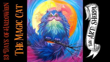 Easy Magical Fluffy Cat with full moon Easy Acrylic painting step by step #13daysofHalloween