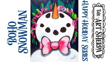 Boho Snowman Easy Acrylic painting tutorial step by step Live Streaming