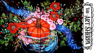 LARGE CANVAS Fall Floral Easy Acrylic painting tutorial step by step Live Streaming