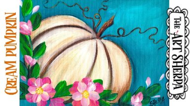 Easy white pumpkin Acrylic painting tutorial step by step Live Streaming