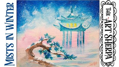 Misty Winter Zen  Easy Acrylic painting tutorial step by step Live Streaming