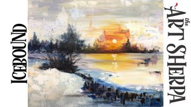 Abstract Acrylic Painting Tutorial for Beginners Landscape Icebound