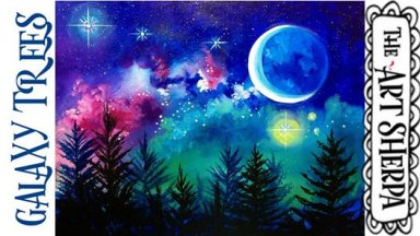 How to paint a Starry Night Galaxy over trees STEP By STEP