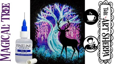 How to paint a Magical Forest Tree and Deer  step by step Fantasy Winter tutorial