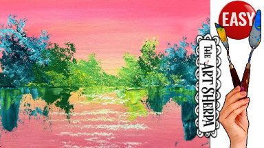 Bright Abstract Landscape Easy Acrylic painting tutorial step by step Live Streaming