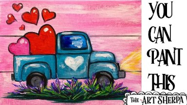 Vintage Truck with hearts Easy Acrylic painting tutorial step by step Live Streaming