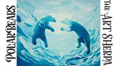 How to paint with Acrylic on Canvas Underwater Swimming Polar Bears