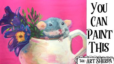 Rat in a Flower cup Easy Acrylic painting tutorial step by step Live Streaming
