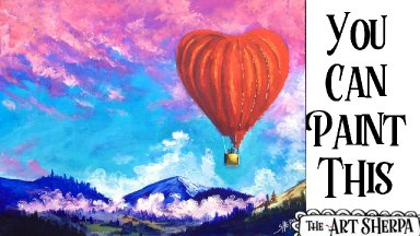 Hot heart Air Balloon Easy Acrylic painting tutorial step by step Live Streaming