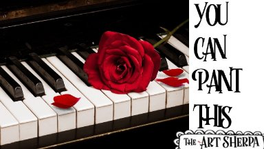 Piano and Red Rose Acrylic painting tutorial step by step Live Streaming