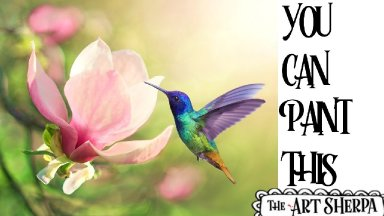 Hummingbird and Magnolia  Acrylic painting tutorial step by step Live Streaming