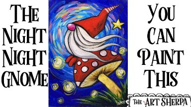 Easy Gnome on a mushroom Acrylic painting tutorial step by step Live Streaming