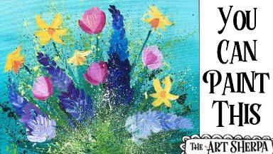 Easy Abstract Flowers  Acrylic painting tutorial step by step Live Streaming