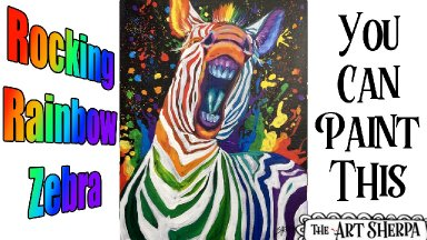 Easy Rainbow Zebra Acrylic painting tutorial step by step Live Streaming