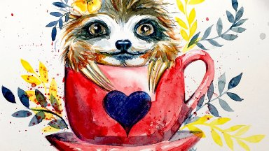 Free Family Friendly Watercolor of Sloffee A cute Baby sloth in Coffee