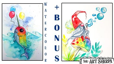 Free Family Friendly Watercolor Of  Nala the Narwhal   step by step