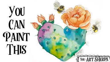 Free Family Friendly Watercolor class Of Prickly Love step by step