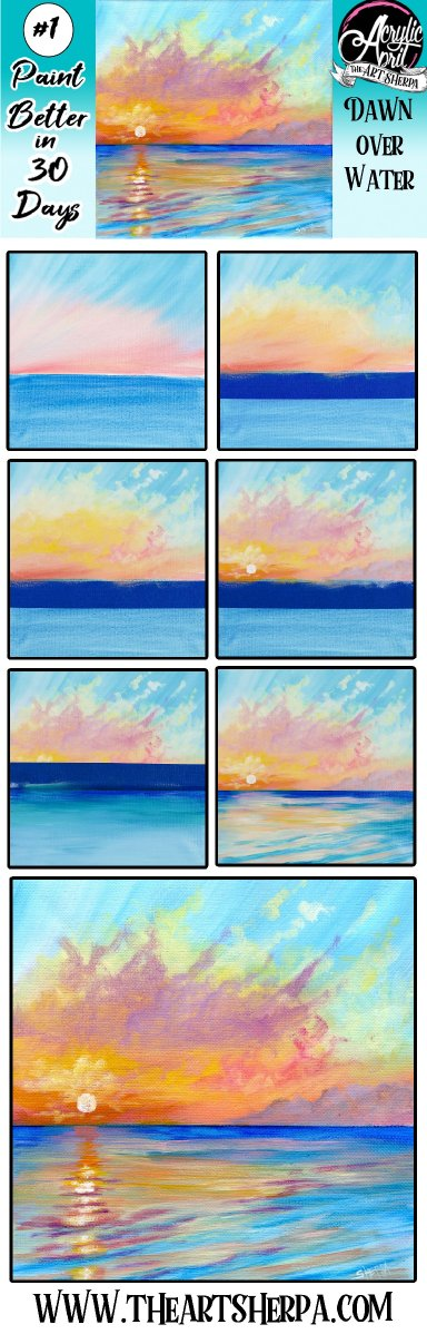 Easy Ocean Sunset Step by step Acrylic Tutorial Day 1 #AcrylicApril2021 | TheArtSherpa