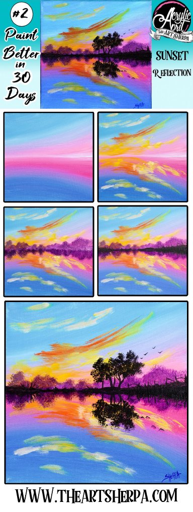 Easy Reflected Sunset on Water Daily Painting Step by step Day 2 #AcrylicApril2021 | TheArtSherpa