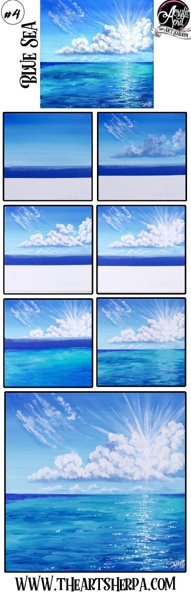 Easy How to paint clouds over ocean Step by step Tutorial Day 4  #AcrylicApril2021 | TheArtSherpa