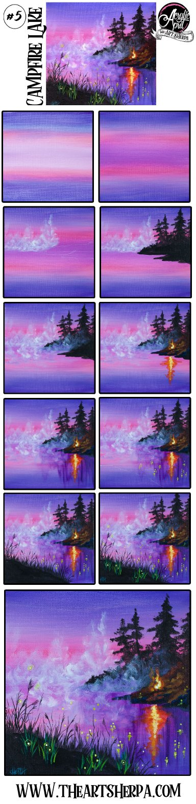 Easy Lake and Campfire  Step by step Acrylic Tutorial Day  #5 AcrylicApril2021 | TheArtSherpa