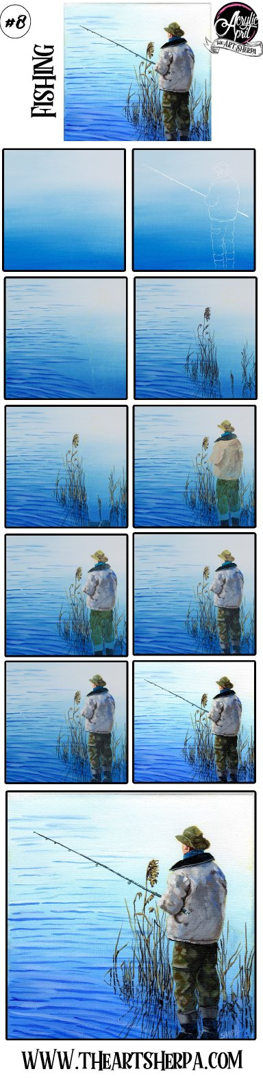 Easy Man fishing at a lake Step by step Acrylic Tutorial Day8  #AcrylicApril2021​​ | TheArtSherpa