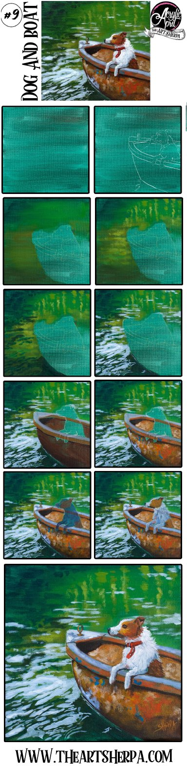 How to paint a Dog in Boat  Step by step Acrylic Tutorial Day 9  #AcrylicApril2021​​ | TheArtSherpa