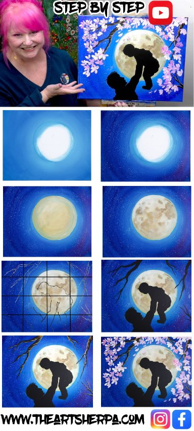 FATHER AND CHILD MOON FLOWER  Beginners Learn to paint Acrylic Tutorial Step by Step