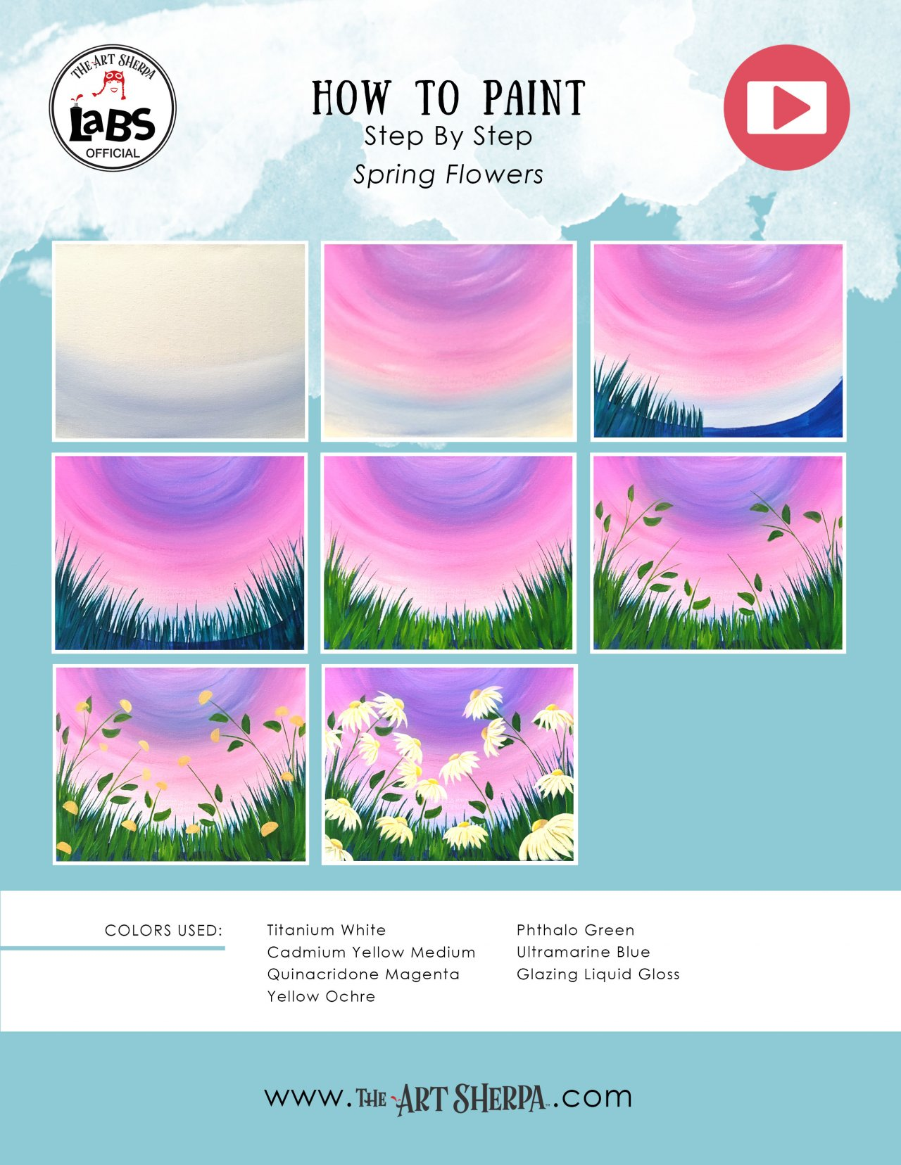 Easy Spring Flowers Acrylic Painting On Canvas For Beginners Lovespringart2017 The Art Sherpa