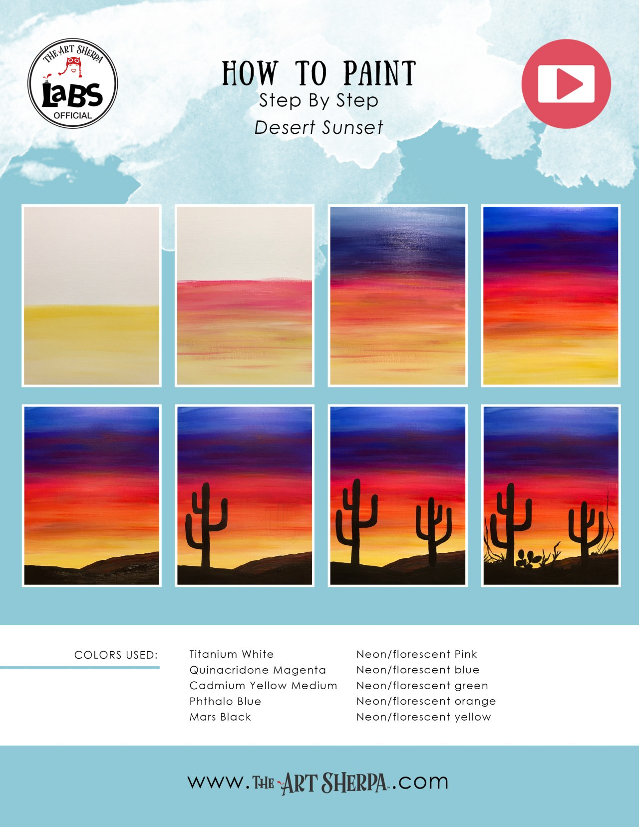 Easy Desert Sunset Saguaro S In Silhouette Acrylic Painting Tutorial On Canvas The Art Sherpa